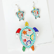 Turtle Necklace SET Pendant Earrings Filigree MULTI Color Bead SILVER Jewelry