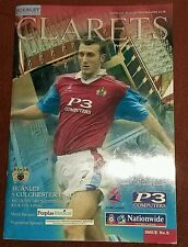 Burnley v Colchester United Division 2 Saturday 18th September 1999 - MINT