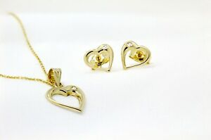 14k Solid Yellow Gold Open Heart set Pendant Necklace With Free Gift