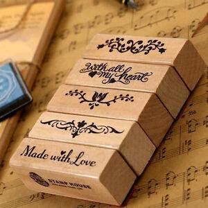 Long Stamp Diy Wooden Rubber Stamps For Vintage Stationery Stam_da