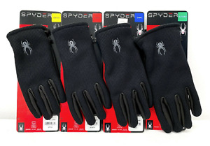 Spyder Leather Palm Stretchable Gloves Black- Variety of Sizes- S, M, L, XL
