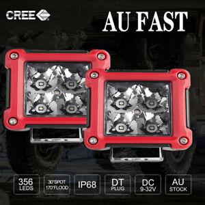2PCS 4-Inch Square Spotlights Off-Road Floodlight Long Range Jeep Driving Lamp