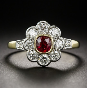 Vintage 925 Silver Yellow Gold Plated Square Ruby Wedding Flower Ring Wholesale!