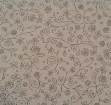"1 yd 22"" Home to Roost by Whimsicals Red Rooster Olive Green on Tan Line Floral"