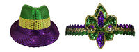 Mardi Gras Sequin Jazz Fedora Top Hat Sequin Headband Adult Costume Accessories