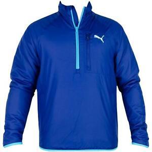 Puma Packable 1/4 Zip Padded Golf Jacket Men's Royal Blue Turquoise Trim S, XL