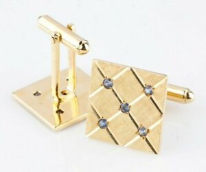 Gorgeous 14k Yellow Gold Plaque Cufflinks with Flush Set Blue Topaz