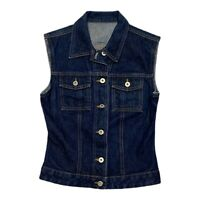 Vintage Guess Womens Blue Trucker Style Denim Vest Jacket Made in USA Size M