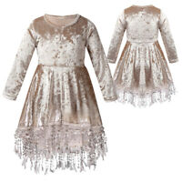 Kid Girls Tassels Party Princess Dress Flower Girls Dress Vintage Velvet Dresses