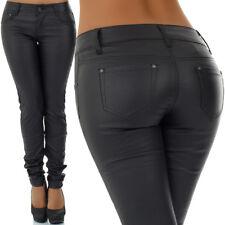 malucas Damen Jeans Lederlook Hose Röhrenjeans Hüfthose Skinny  Slim Fit Stretch