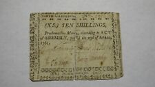1761 Ten Shillings North Carolina NC Colonial Currency Note Bill! 10s April 23
