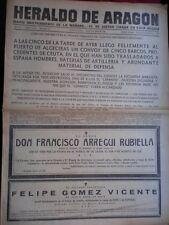 PERIÓDICO GUERRA CIVIL 6 AGOSTO DE 1936 BATALLA NAVAL TOMA ORDUÑA VIZCAYA