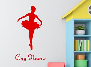 Personalised Name Ballerina Wall Sticker Decal Girls Custom Name Kids Art Vinyl