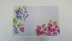 Spring Summer Vinyl Placemat Hydrangeas Gray w/Purple & Pink Rectangular NEW
