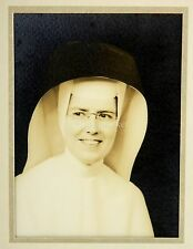 Young Nun in Full Habit, Black and White, Wearing Glasses Mid-Century Photograph