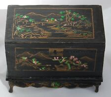 Vtg Dollhouse Miniature Hand Painted Chinese Chest Trunk Artisan R Tripoli