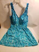 Maxine Women's Bathing Suit Swim Size 16 Plus Size Blue White Floral One Piece
