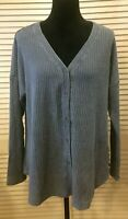 SOFT SURROUNDINGS sz L Faded Washed Blue Thermal Waffle Knit V-Neck Hagen Shirt