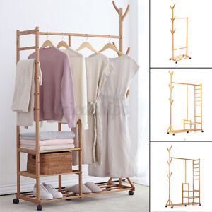 Bamboo Garment Closet Rack Clothes Storage Organizer Hanging Rail Shelf On-Wheel