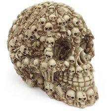 Skull Statue Figurine Covered In Skeleton Bones & Skulls Gothic Horror Decor