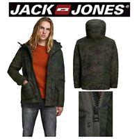 Jack & Jones Mens Camo Hooded Jacket Full Zipper Winter Coat Size S M L XL