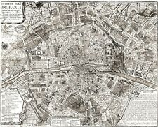 PARIS MAP HUGE VINTAGE historical PLAN FRANCE 1705 OLD ANTIQUE STYLE MAP Print