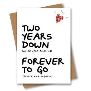 2nd Anniversary Card - Husband Wife Boyfriend Girlfriend Fiance 2 year Wedding