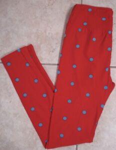 NEW Lularoe Leggings OS Red Blue Polka Dots Circles Soft Stretch One Size NWOT