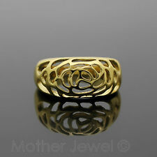 LOVELY WOMENS GIRLS GIFT 18K YELLOW GOLD PLATED ROSE CUT OUT WIDE RING SIZE 8 P