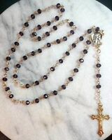 Rosary Handmade w/ Purple & Clear Glass Crystals Gold Tone-ReligiousCatholic