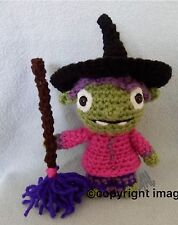 "Amigurumi Hand Crocheted Wallykazam Hattie the Witch with Broom 7"" Doll *NEW*"