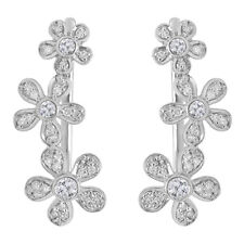 0.40 CT Sterling Silver Round White Diamond Ladies Floral Ear Climber Earrings