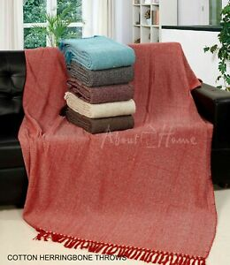 About Home Herringbone Cotton Throw,Sofa Throw,Settee Cover, 228x254 cm (Double)