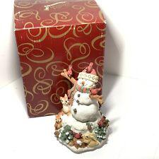 "San Francisco Music Box Woodland Snowman ""Let It Snow"" Figurine Cardinals Animal"
