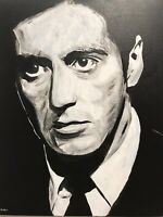 Al Pacino hand painted Godfather Coda portrait signed fan art canvas Corleone