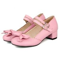 Lolita Womens Bowknot Block Heel Ankle Strap Sandals Mary Janes Cosplay Shoes Sz
