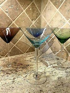 Martini Glasses - Set of 4 - Multi Colored Emerald, Amethyst, Aqua, Sapphire