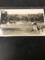 real photo Postcard Riverside Park Birtle Manitoba Swimming Party On River  A1