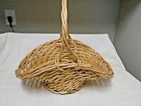 "VINTAGE RATTAN WICKER LARGE  PLANT INDOOR OUTDOOR BASKET 17""W & 14"" Tall"