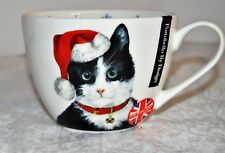 New PORTOBELLO CHRISTMAS HOLIDAY CAT WITH SANTA HAT JUMBO CUP MUG NEW