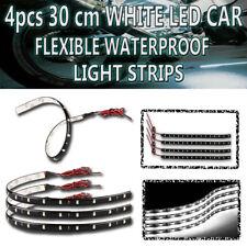 Zone Tech 4PC 30CM 15 LED Car Motors Truck Decoration Flexible WHITE Strip Light
