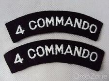 Pair British Military 4 Commando Special Service Brigade Cloth Shoulder Titles