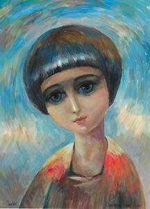 original painting 29,5 x 41 cm 172MG art modern portrait Mixed Media Signed 2021