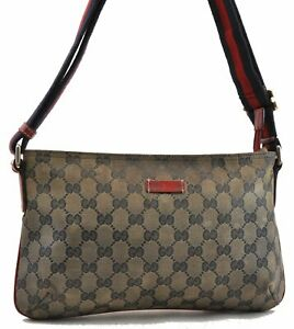 Auth GUCCI GG Crystal Sherry Line Shoulder Cross Body Bag PVC Leather Blue 0565A