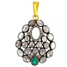 Diamond Emerald Silver Pendant Jewelery Victorian Style 2.80cts Rose Antique Cut
