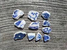 Sea Pottery, not sea glass. 11 shards. Craft grade. Patterns. Genuine.