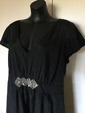Size 20 Smart flattering Black Beaded Detail Cocktail Dress