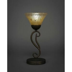 "Toltec Lighting Olde Iron Mini Table Lamp, 7"" Amber Crystal Glass - 44-BRZ-750"
