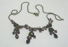 Lovely Bronze tone metal pretty link necklace purple lilac faceted beads