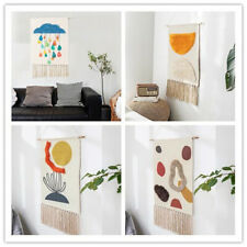 Hand Woven Cotton Stereoscopic Wall Hanging Tapestry Tassel Hemp Rope Home Decor